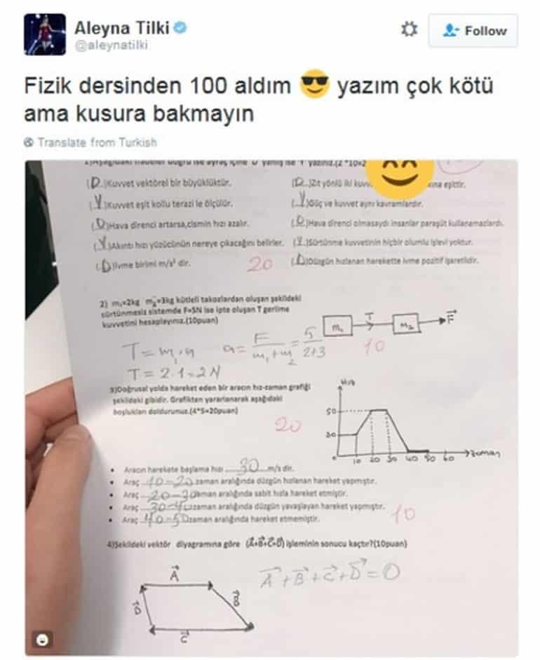Aleyna Tilki fizikten 100 aldı